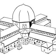 Церковь Симеона Столпника (Калат-Семан) близ Антиохии. 5 век. Реконструкция