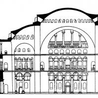 Храм св. Софии в Константинополе. Продольный разрез. Реконструкция