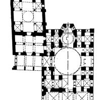 Монастырь Хозиос Лукас в Фокиде. Кафоликон и церковь Богоматери. Конец 10 - 1-я полорвина 11 века. План