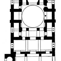 Церковь монастыря Дафни близ Афин. 2-я половина 11 века. План