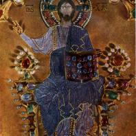 Центральная часть алтарного образа (так называемой Пала д'Оро) с изображением Христа. Эмаль, драгоценные камни. 10 - 14 вв. (Ранняя часть — 976 г., последняя переработка — 1345 г.) Венеция, собор св. Марка