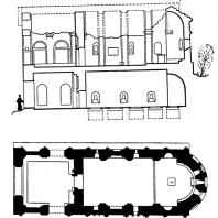 Церковь-усыпальница Бачковского монастыря. 11 век. Продольный разрез и план