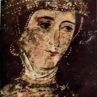 Голова Десиславы, жены севастократора Калояна. Фрагмент фрески церкви св. Пантелеймона в Бояне. Середина 13 век