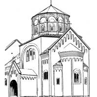 Церковь Богоматери в Студенице. Вид c юго-востока