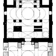 Церковь Богоматери в Грачанице. Около 1320 г. План