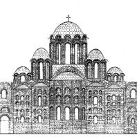 Храм св. Софии в Киеве. 11 век. Восточный фасад. Реконструкция