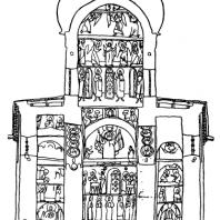 Церковь Спаса Нередицы. Заложена в 1198 г. Поперечный разрез