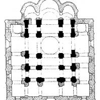 Успенский собор во Владимире. 1158-1161 гг., расширен в 1185-1189 гг. План