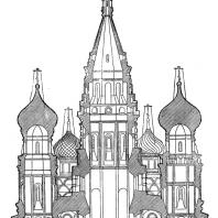 Собор Покрова на рву (храм Василия Блаженного) в Москве. Поперечный разрез
