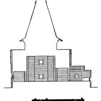 Никольская церковь в Панилове Архангельской области. 1600 г. Продольный разрез и план