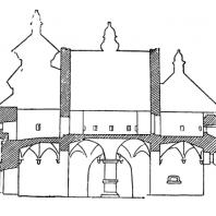 Покровская церковь в селе Сутковицы на Подолии. Начало 16 века. Продольный разрез