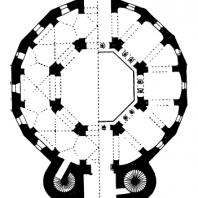 Аахенская Палатинская капелла Карла Великого. 795 - 805 гг. План