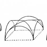 Своды: цилиндрический, цилиндрический на распалубках, крестовый, крестовый на нервюрах и сомкнутый. Схема