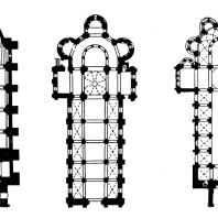 Собор в Авиньоне (Прованс), церковь Сен Пьер в Шовиньи (Пуату), церковь Нотр-Дам дю Пор в Клермон-Ферране (Овернь). Планы