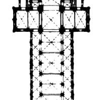 Церковь Троицы в Кане (Нормандия). 1059-1066 гг, перестроена в 1120-1140 гг. План