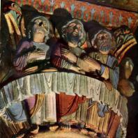 Тайная вечеря. Скульптурная капитель церкви Сен Поль в Иссуаре.Середина 12 век