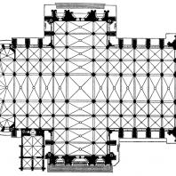 Собор св. Петра в Кельне. Заложен в 1248 г., хор завершен в 1332 г. Дальнейшее строительство - в 14-15 вв., закончено в 1841-1880 гг. План