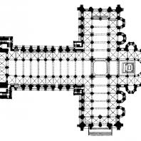 Собор в Сант Яго де Компостела. 1078-1128 гг. План