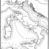 Карта Италии в Средние века