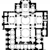 Собор св. Марка в Венеции. Строительство велось в 1063-1085 гг.; храм освящен в 1094 г., завершен в основном в 13 в.; последующие достройки до 17 в. План