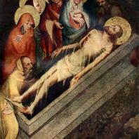 Положение во гроб. Створка алтаря из церкви в Тржебоне. Около 1380 г. Прага. Национальная галерея