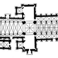 Собор в Тронхейме (Nidarosdomen). Основное строительство в 12-13 вв., собор завершен в 19-20 вв. План
