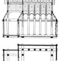 Церковь в Урнесе (Urnes stavkyrkje). Около 1090 г. Продольный разрез и план