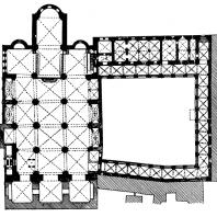 Домская церковь в Риге. Начата в 1211 г., завершена в основном в середине 13 век. План