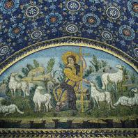 Добрый пастырь с овцами. Мозаика мавзолея Галлы Плацидии в Равенне. Середина 5 век