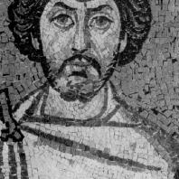 Фрагмент мозаики «Император Юстиниан со свитой» церкви Сан Витале в Равенне