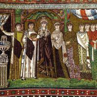Императрица Феодора со свитой. Мозаика церкви Сан Витале в Равенне. До 547 г.