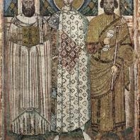 Св. Димитрий с основателями церкви. Мозаика церкви св. Димитрия в Фессалониках. Вскоре после 634 г.