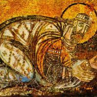 Император Лев VI перед Христом. Мозаика нарфика храма св. Софии в Константинополе. Фрагмент