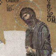 Иоанн Креститель. Фрагмент мозаики. «Деисус» в южной галлерее храма св. Софии в Константинополе. Фрагмент. 2-я четверть 12 века