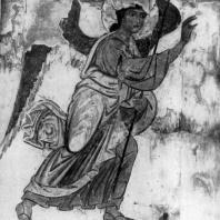 Ангел. Фрагмент фрески «Благовещение» храма в Атени. Начало 10 века или 2-я половина 11 века