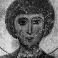 Св. Георгий. Фрагмент фрески храма Кинцвиси. Конец 12 - начало 13 века