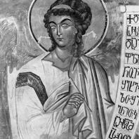 Ангел. Фреска храма Цаленджиха. Фрагмент. 14 век
