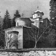 Церковь св. Пантелеймона в Бояне. Восточная часть - 11-12 вв., средняя часть - 1259 г., западная часть - конца 19 века. Вид с северо-востока