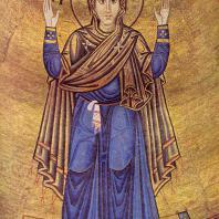 Богоматерь-оранта. Мозаика центральной абсиды храма св. Софии в Киеве. 11 век