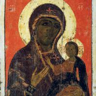 Богоматерь-одигитрия. Икона конца 13 начала 14 в. Москва, Третьяковская галерея