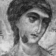 Ангел. Фрагмент фрески Дмитриевского собора во Владимире. Конец 12 век