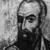 Апостол Павел. Фрагмент фрески Дмитриевского собора во Владимире. Конец 12 века