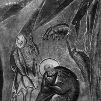 Иосиф с пастухом. Фрагмент фрески «Рождество Христово» церкви Успения на Волотовом поле близ Новгорода. 70-80-е гг. 14 века