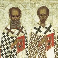 Избранные святые. Икона конца 14 - начала 15 века. Фрагмент. Москва, Третьяковская галлерея