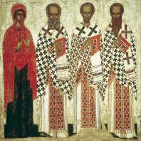 Избранные святые. Икона конца 14 - начала 15 века. Москва, Третьяковская галлерея