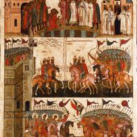 Битва суздальцев с новгородцами. Икона 2-й половины 15 века. Москва, Третьяковская галерея