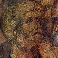 Андрей Рублев. Апостол Петр. Фрагмент фрески Успенского собора во Владимире. 1408 г.
