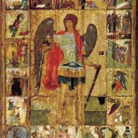 Архангел Михаил с житием. Икона из Архангельского собора в Московском Кремле. 1-я половина 15 века