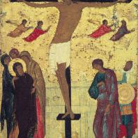 Дионисий. Распятие. Икона из Обнорского монастыря. 1500 г. Москва, Третьяковская галерея