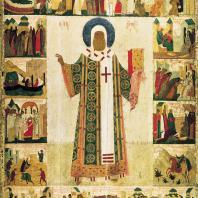 Митрополит Алексий с житием. Икона из Успенского собора в Московском Кремле. 1462-1483 гг. Москва, Третьяковская галерея